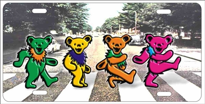 Grateful dead dancing bears Abbey road license plate