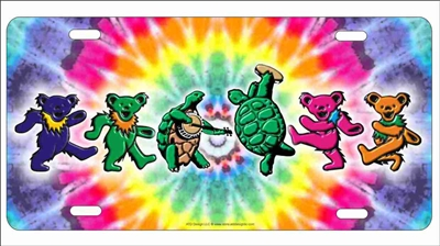 Grateful dead dancing bears Dancing Terrapin Turtles and Iko Bears on a tie dye background personalized novelty Front license plate Decorative vanity Aluminum Sign