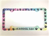 Grateful Dog License Plate Frame Paw prints on a tie dye background Decorative License Plate Holder