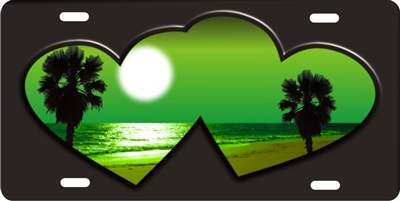 green beach scene inside double hearts personalized novelty license plate for lovers