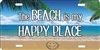 The Beach is my Happy Place beach scene Smiley Face in The Sand personalized novelty license plate