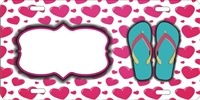 hearts Pattern design with flip flops personalized novelty front license plate decorative vanity car tag