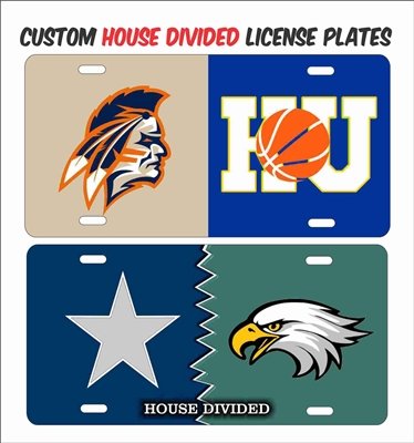 house divided or House United custom novelty vanity aluminum license plate Custom License Plates, Personalized License Plates, Decorative License Plates, Front License Plates, Car Tags, airbrush