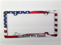 In God We Trust License Plate Frame, American Flag Decorative License Plate Holder, Americana Car Tag Frame