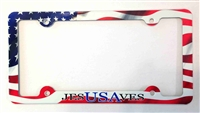 Jesus Saves USA License Plate Frame, American Flag Decorative License Plate Holder, Americana Car Tag Frame