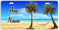Tropical beach scene personalized novelty license plate Decorative vanity front car tag