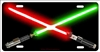 Light sabers red and green personalized novelty license plate decorative vanity front car tag