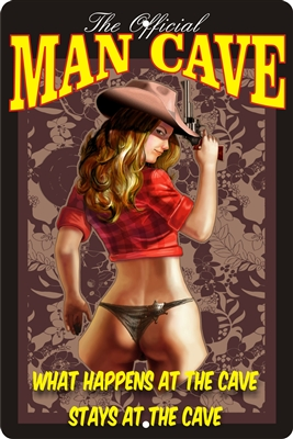 Cowgirl man cave personalized aluminum sign