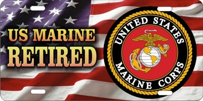 retired Marine on american flag custom car tag Custom License Plates, Personalized License Plates, Decorative License Plates, Front License Plates, Car Tags, airbrush