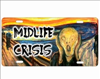 Midlife Crisis Edvard Munch the Scream personalized customized novelty front license plate Decorative Vanity car tag