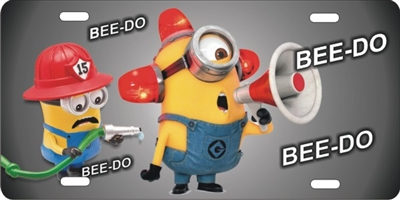 minions fireman BEE DO custom car tag Custom License Plates, Personalized License Plates, Decorative License Plates, Front License Plates, Car Tags, airbrush