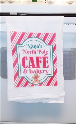 North Pole Cafe Flour Sack Kitchen Towel great as a Holiday, Christmas Gift