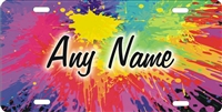 personalized novelty license plate Paint splatter rainbow colors Custom License Plates, Personalized License Plates, Decorative License Plates, Front License Plates, Car Tags, airbrush