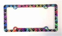 Paws License Plate Frame, Paw Prints Decorative License Plate Holder, Colorful Car Tag Frame