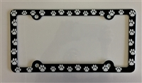 Paws License Plate Frame, white Paw Prints Decorative License Plate Holder Car Tag Frame
