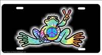 Peace Frog peace sign custom car tag Custom License Plates, Personalized License Plates, Decorative License Plates, Front License Plates, Car Tags, airbrush