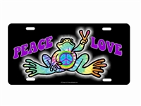 Peace n Love Frog peace sign hippie art License Plate Decorative front License Plates, airbrush