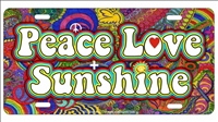 Peace love and sunshine Hippie art novelty license plate decorative vanity aluminum sign