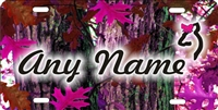 pink red oak camo background custom car tag Custom License Plates, Personalized License Plates, Decorative License Plates, Front License Plates, Car Tags, airbrush