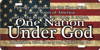 pledge of allegiance, one nation under God custom novelty front plate car tag
