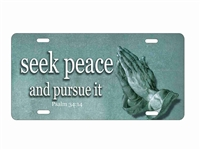 praying hands seek peace car tag Custom License Plates, Personalized License Plates, Decorative License Plates, Front License Plates, Car Tags, airbrush