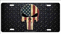 The Punisher skull American flag on faux diamond plate novelty front license plate decorative vanity aluminum car tag