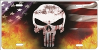 The Punisher on American flag fire personalized novelty license plate, custom made Punisher front plates