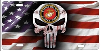 US Marine Punisher American flag personalized novelty license plate, custom made Punisher front plates
