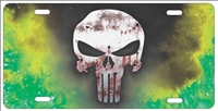 The Punisher Green Fire Background personalized novelty license plate, custom made Punisher front plates
