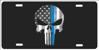 The Punisher Thin Blue Line American flag background personalized novelty front license plate Decorative Vanity Car Tag