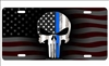 The Punisher Thin Blue Line on American flag background personalized novelty front license plate Decorative Vanity Car Tag