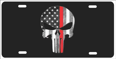 The Punisher Thin Red Line American flag background Firefighter personalized novelty front license plate Decorative Vanity Car Tag