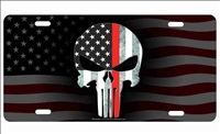 The Punisher Thin Red Line on American flag background Firefighter personalized novelty front license plate Decorative Vanity Car Tag