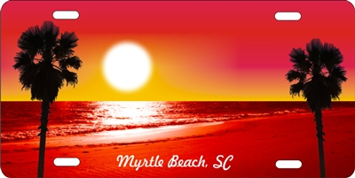 Beach scene red personalized novelty license plate Custom License Plates, Personalized License Plates, Decorative License Plates, Front License Plates, Car Tags, airbrush