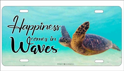 Sea Turtle Happiness comes in waves novelty license plate Custom License Plates, Personalized License Plates, Decorative License Plates, Front License Plates, Car Tags, airbrush