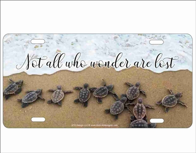 not all who wonder baby sea turtles hatching personalized novelty license plate Custom License Plates, Personalized License Plates, Decorative License Plates, Front License Plates, Car Tags, airbrush