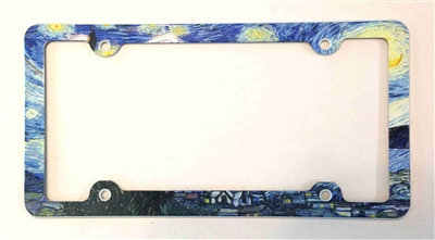 Van Gogh Starry Night License Plate Frame, Decorative License Plate Holder, Car Tag Frame