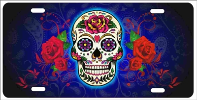 Mexican Sugar skull Custom License Plates, Personalized License Plates, Decorative License Plates, Front License Plates, Car Tags, airbrush