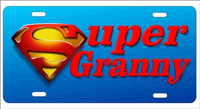 super granny Custom novelty License Plates, Personalized License Plates, Decorative License Plates, Front License Plates, Car Tags, airbrush