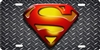 Superman printed on diamond plate Custom License Plates, Personalized License Plates, Decorative License Plates, Front License Plates, Car Tags, airbrush