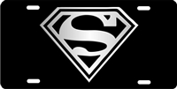 Superman logo black and white personalized novelty license plate custom car tag Custom License Plates, Personalized License Plates, Decorative License Plates, Front License Plates, Car Tags, airbrush