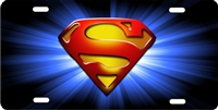 superman logo on starburst custom car tag Custom License Plates, Personalized License Plates, Decorative License Plates, Front License Plates, Car Tags, airbrush