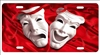 Theater Masks Comedy Tragedy on red silk personalized novelty front license plate Custom Decorative car tag