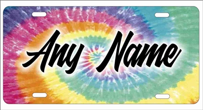 Tie dye custom car tag personalized license plate