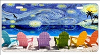 Vincent van gogh starry night on the beach Personalized License Plates, Decorative License Plates, Front License Plates, Car Tags, airbrush