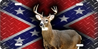 Whitetail Deer diamond plate rebel flag Custom License Plates, Personalized License Plates, Decorative License Plates, Front License Plates, Car Tags, airbrush