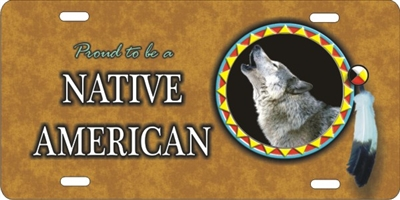 personalized novelty license plate Proud to be a Native American wolf Spirit Custom License Plates, Personalized License Plates, Decorative License Plates, Front License Plates, Car Tags, airbrush