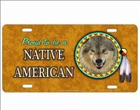 novelty license plate Proud to be a Native American wolf Spirit Custom License Plates, Personalized License Plates, Decorative License Plates, Front License Plates, Car Tags, airbrush