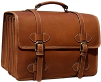 Scholar 4 Compartment Leather Briefcase Brown