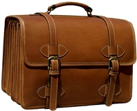 Scholar 4 Compartment Leather Briefcase Tan
